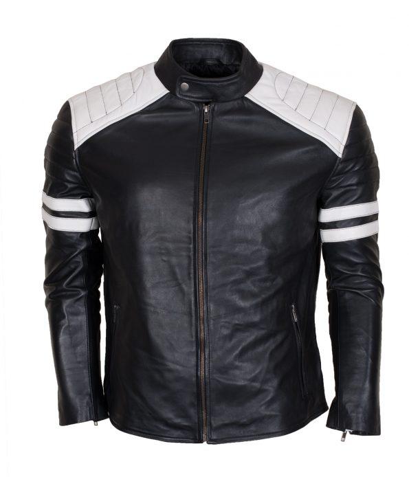 Mayhem Hybrid Men White Stripe Black Leather Jacket