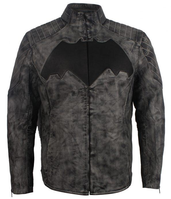 Men Bat Man Gray Waxed SuperHero Leather Jacket