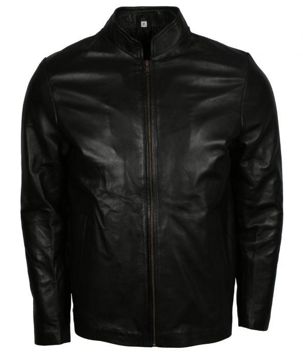 Men Black Designer Leather Biker Jacket