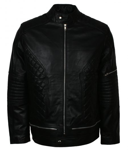 Men Bomber Diamond Quilted Black Leather Jacket