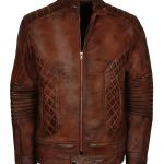 Men Bomber Diamond Quilted Brown Waxed Leather Jacket