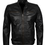 Men Bradley Cooper Sport Black Biker Leather Jacket costume