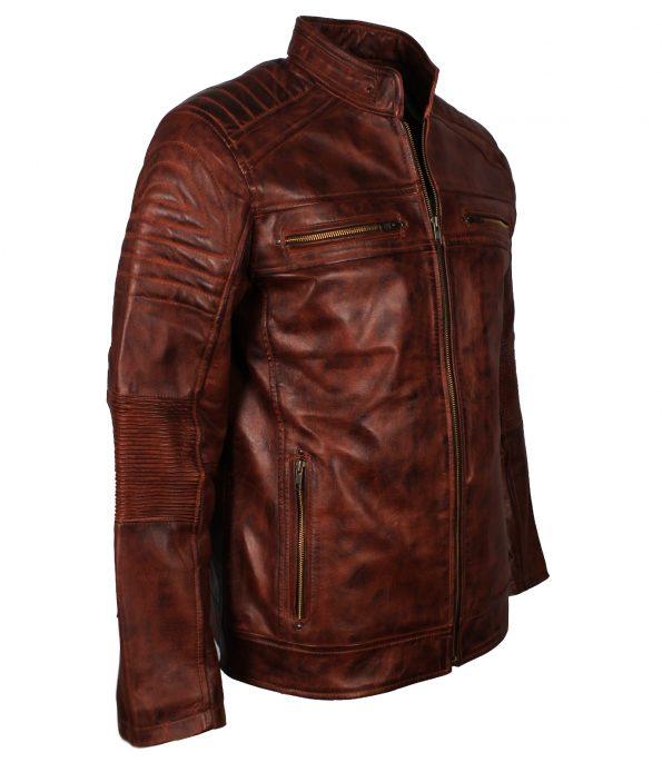 Men Cafe Racer Quilted Distressed Vintage Brown Waxed Biker Leather Jacket moto wear