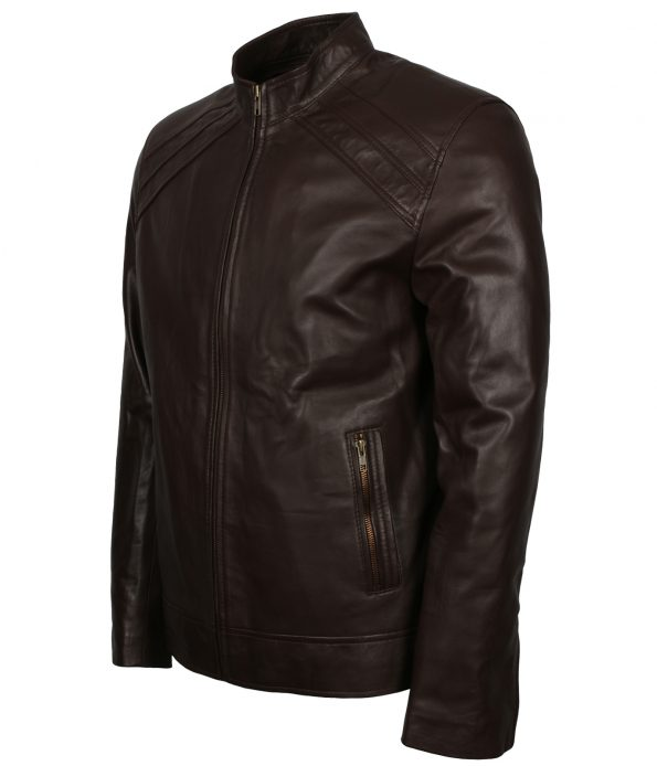 Men Casual Designer Bomber Brown Real Leather Biker Jacket free shipping