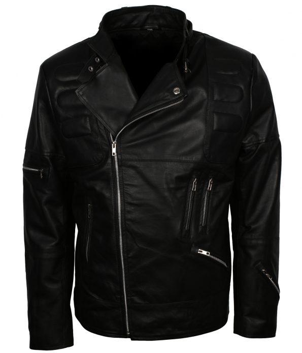 Men Classic Black Padded Motorcyle Leather Jacket