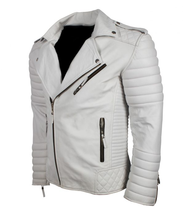 Men Classic Brando Boda Biker Quilted White Motorcycle Leather Jacket fashion clothing