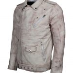 Men Classic Brando White Waxed Motorcycle Leather Jacket
