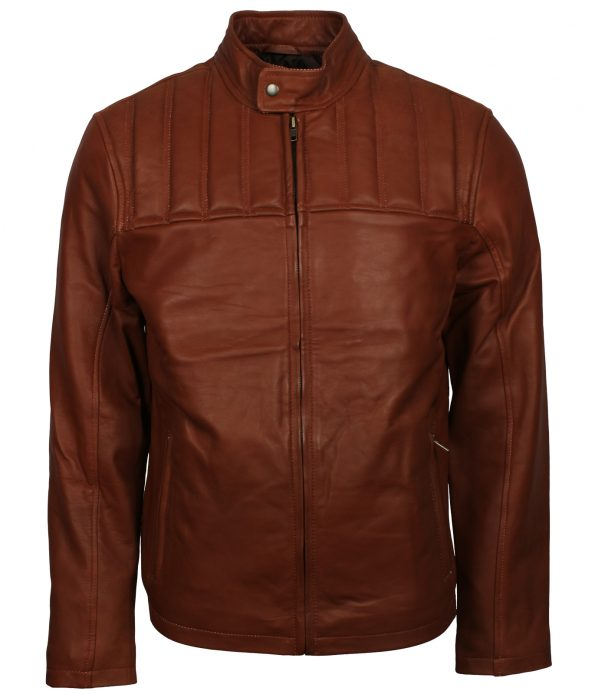 Men Classic Brown Bomber Leather Jacket