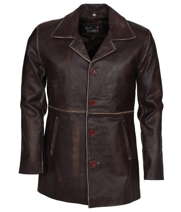 Men Classic Brown Designer Leather Coat