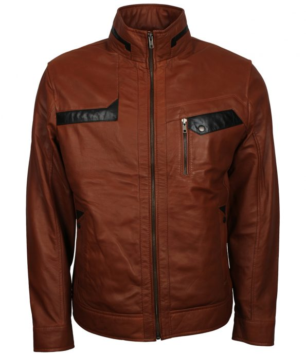 Men Classic Brown Flap Pocket Bomber Leather Jacket
