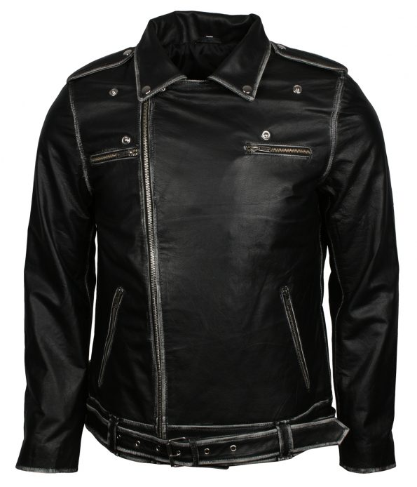 Men Classic Marlon Brando Black Motorcycle Leather Jacket