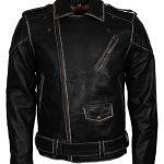 Men Classic Marlon Brando Rub off Biker Black Motorcycle Leather Jacket australia