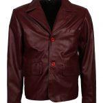 Men Classic Maroon Leather Blazer