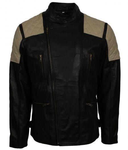 Men Classic Mayhem Stripe Black Leather Jacket