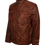 Men Classic Quilted Cafe Racer Brown Flap Pocket Leather Jacket