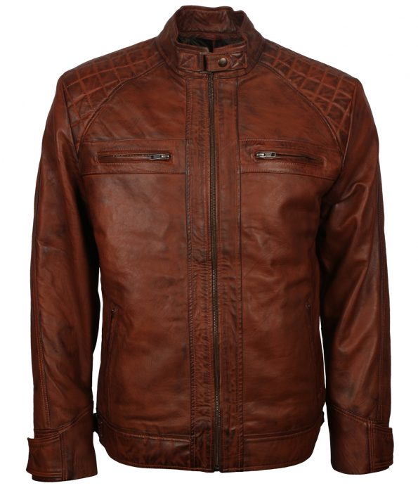 Men Classic Quilted Cafe Racer Brown Leather Jacket
