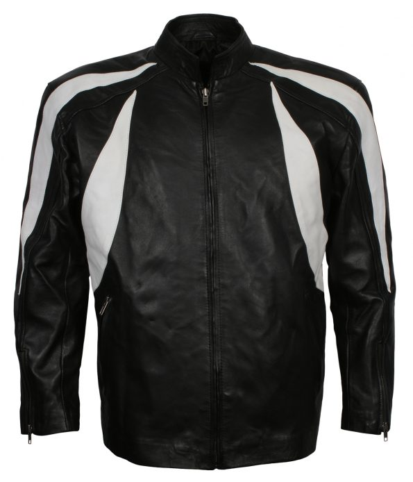 Men Classic White Black Designer Moto Leather Jacket