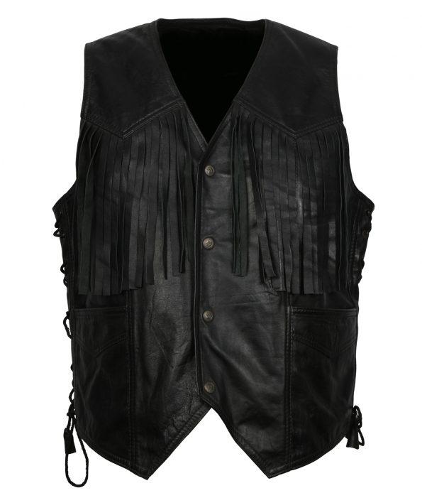 Men Cow Boy Black Leather Vest