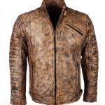 Men David Beckham Custom Brown Waxed Leather Jacket
