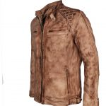 Men David Beckham Custom Brown Waxed Motorcycle Leather Jacket