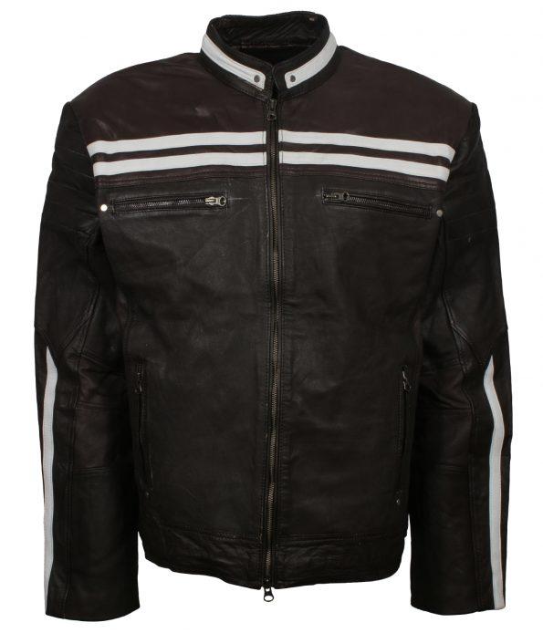 Men Designer Retro Black Stripe Motorcyle Leather Jacket