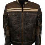 Men Designer Retro Brown Stripe Motorcyle Leather Jacket
