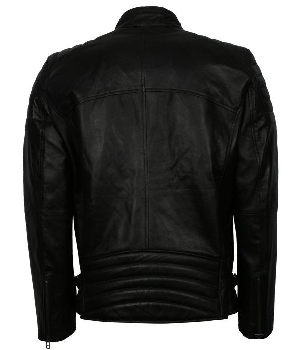 Men Designer Slim Fit Quilted Black Real Biker Leather Jacket fashion clothing