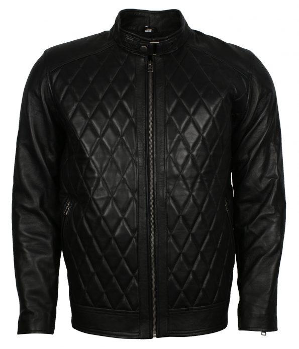 Men Diamond Quilted Designer Black Leather Jacket