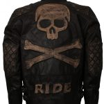 Men Distressed Biker Skull Motorcycle Leather Jacket