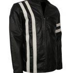 Men Driver San Francisco Stripe Black Leather Biker Jacket