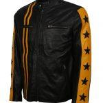 Men Driver San Francisco Yellow Stripe Black Biker Leather Jacket