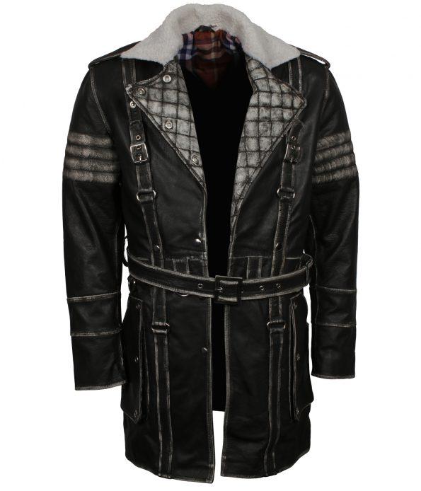 Men Fallout IV Black Leather Coat