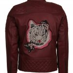 Men Maroon Tiger Embroided Leather Jacket