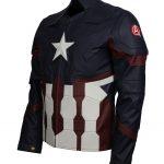 Men Marvel Captain America Blue Leather Jacket
