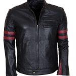 Men Mayhem Hybrid Red Stripes Black Leather Jacket