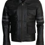Men Resident Evil 6 Leon Kennedy Gaming Black Leather Jacket 2
