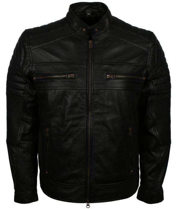 Men Retro Cafe Racer Black Motorcycle Leather Jacket