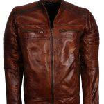 Men Retro Dragon Skin Brown Motorcycle Leather Jacket