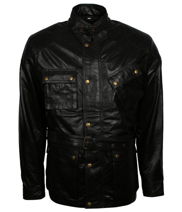Men Retro Flap Pocket Black Leather Jacket