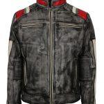 Men Retro Gray Waxed Designer Motorcyle Leather Jacket