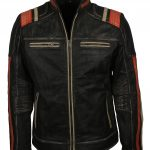 Men Retro Moto Stripe Leather Jacket