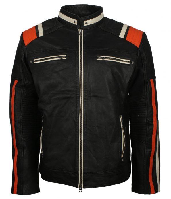 Men Retro Stripe Black Motorcyle Leather Jacket