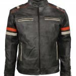 Men Retro Stripe Gray Motorcyle Leather Jacket