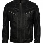 Men Retro Zipper Custom Black Biker Leather Jacket