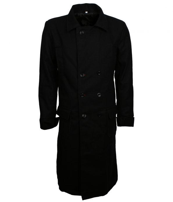 Men Sherlock Holmes Black Wool Leather Coat