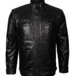 Men Simple Black Vin Diesel Style Biker Leather Jacket Leder Jacket