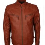 Men Simple Tan Vin Diesel Biker Leather Jacket costume