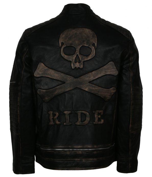 Men Skull Distressed Embossed Black Biker Leather Jacket
