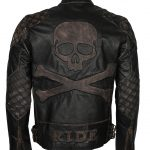 Men Skull Embossed Vintage Distressed Biker Black Motorcycle Leather Jacket costume