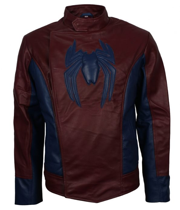 Men SpiderMan Home Coming Red Leather Jacket Costume